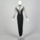 Small Bob Mackie Black Beaded Long Gown
