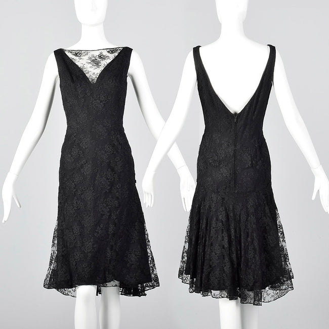 1960s Mignon Black Lace Mermaid Dress with a Stunning Neckline