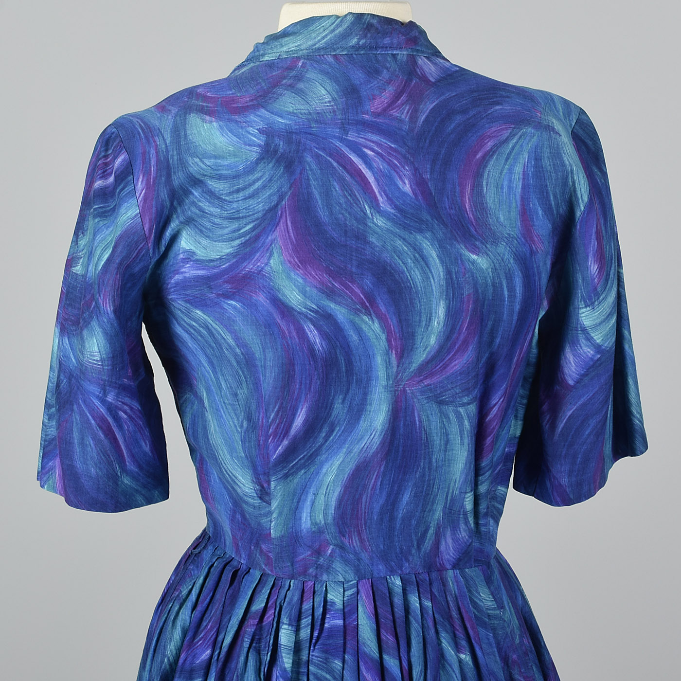 1950s Blue and Purple Day Dress