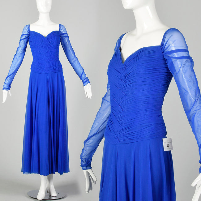 Large 1980s Dress Vicky Tiel Blue Mesh Gown Long Sheer Sleeves Ruched Bodice Sweetheart Neckline