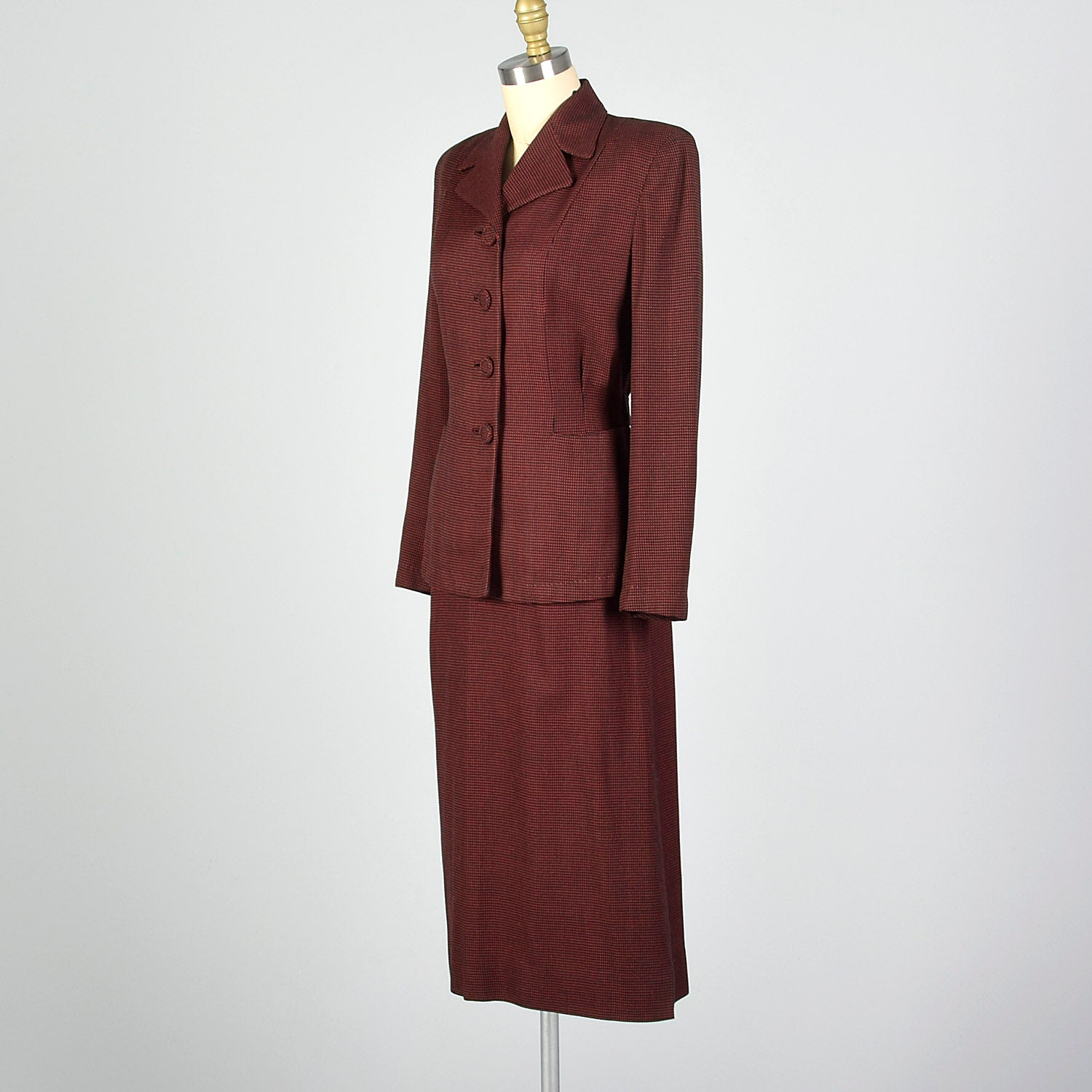 1940s Red and Black Check Skirt Suit