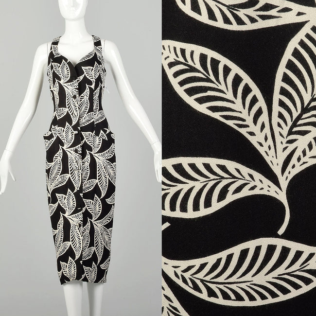 Medium 1990s Tropical Print Black Dress Casual Sleeveless