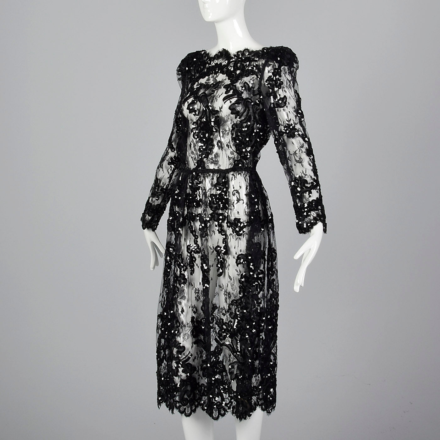 1980s Sheer Black Lace Dress with Sequins & Scalloped Hem