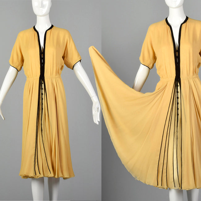 Large 1970s Galanos Bonwit Teller Silk Chiffon Dress