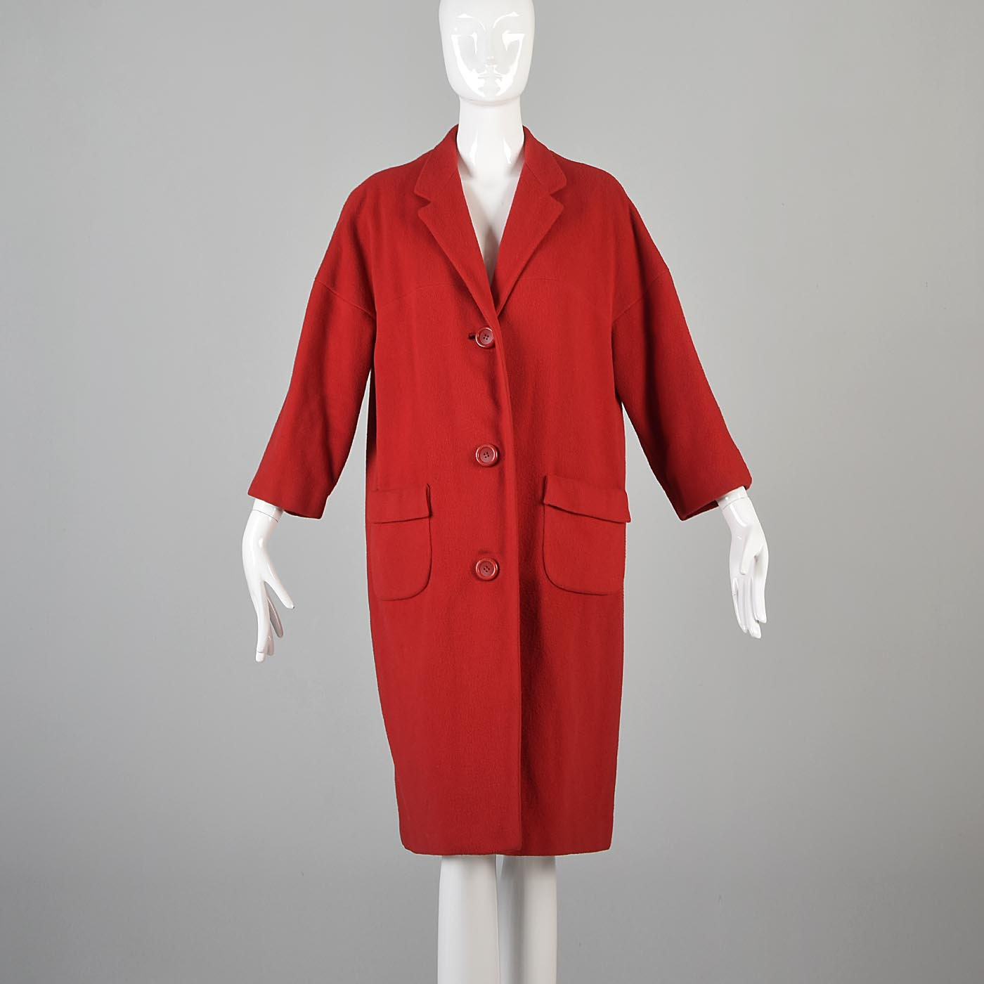 1960s Marshall Fields Lipstick Red Cashmere Coat