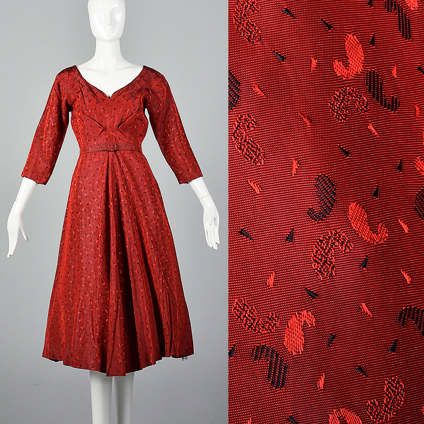 1950s Shiny Red Party Dress