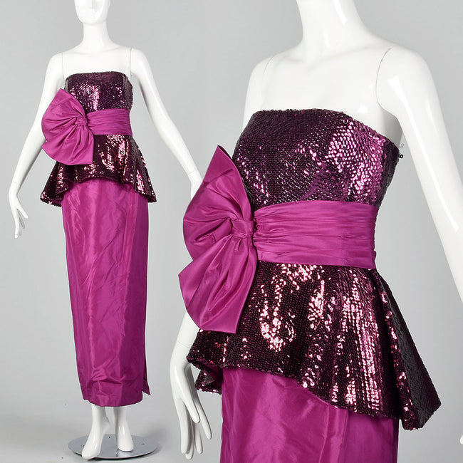 1980s Mignon Fuchsia Taffeta Dress with Sequined Bodice