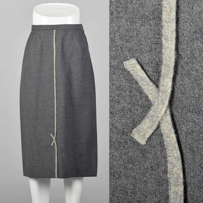 Medium 1950s Gray Wool Skirt with Dove Gray Details
