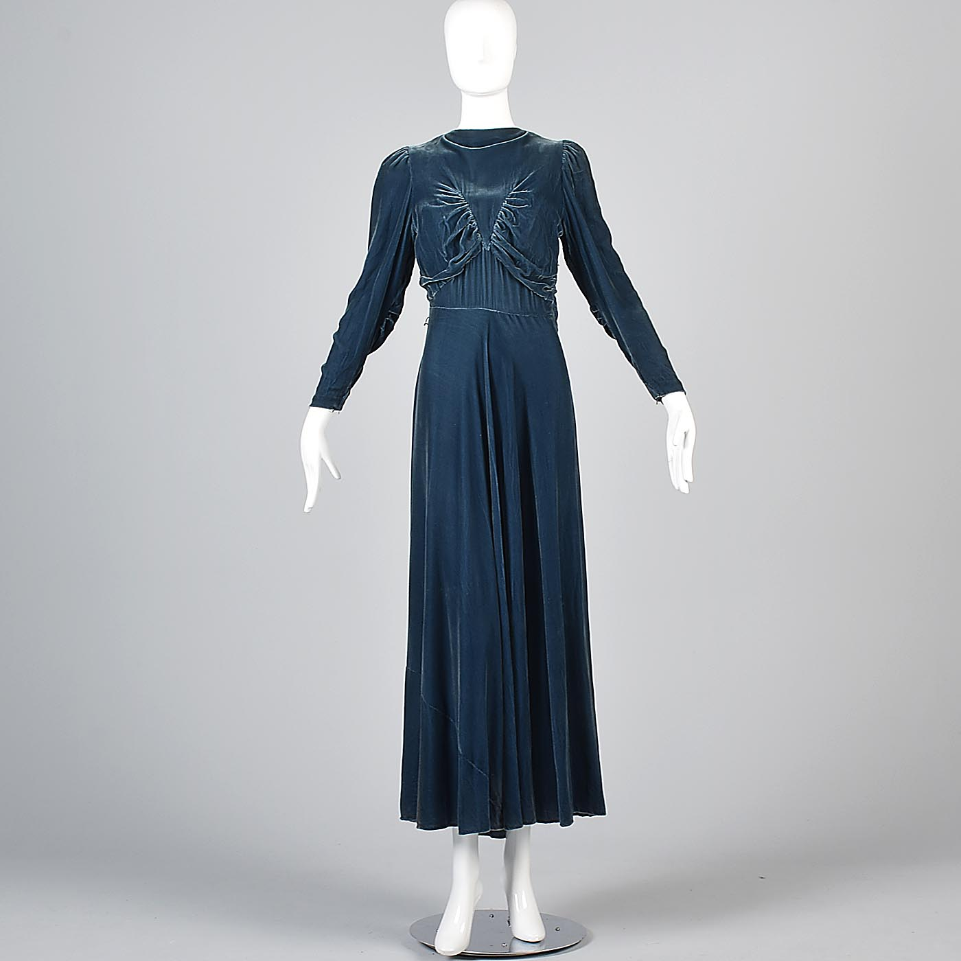1930s Blue Velvet Gown with Gathered Bodice