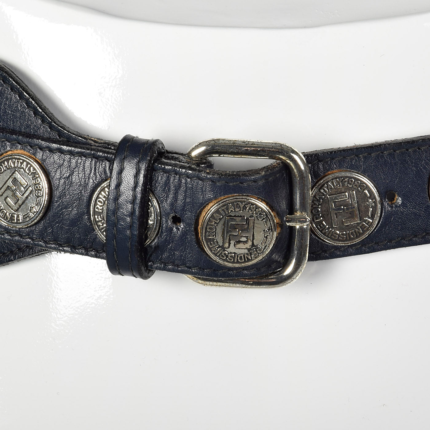 1980s Fendi Black Leather Belt with Snakeskin