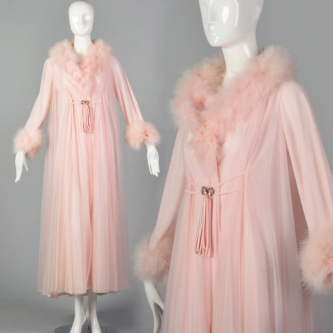 14aefcc012 Claire Sandra by Lucie Ann Pink Neglige Robe with Feather Collar