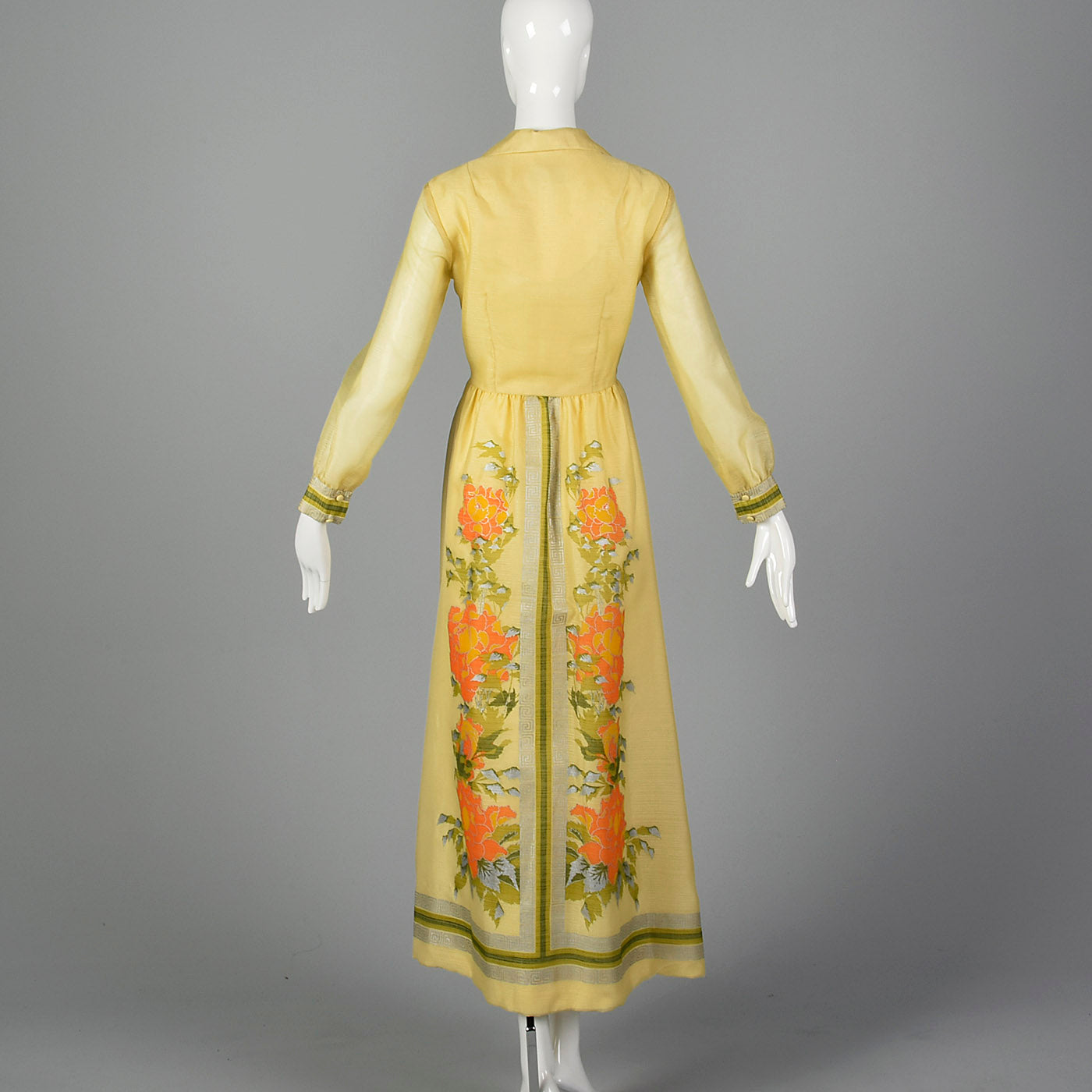 1970s Alfred Shaheen Yellow Maxi Dress