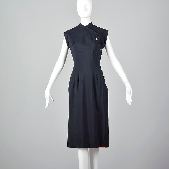 XS-Small Black Cheongsam Dress