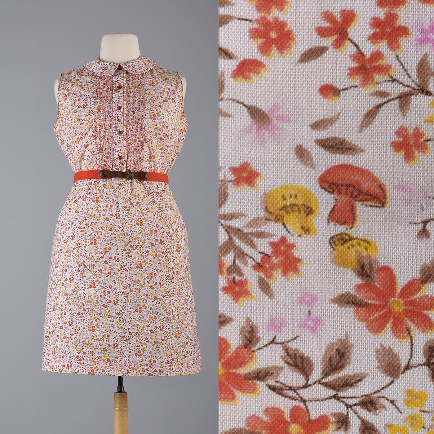 1960s Orange Floral Dress with Tuxedo Front