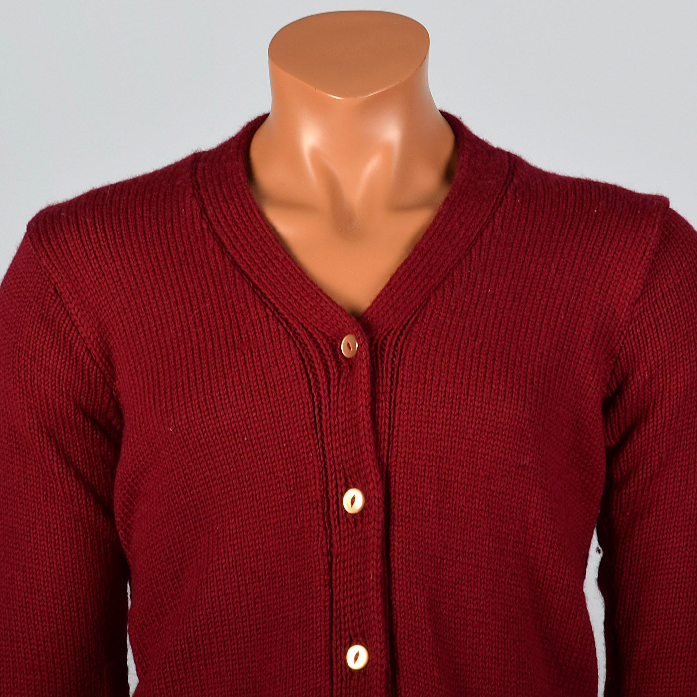 1940s Mens Burgundy Knit Cardigan