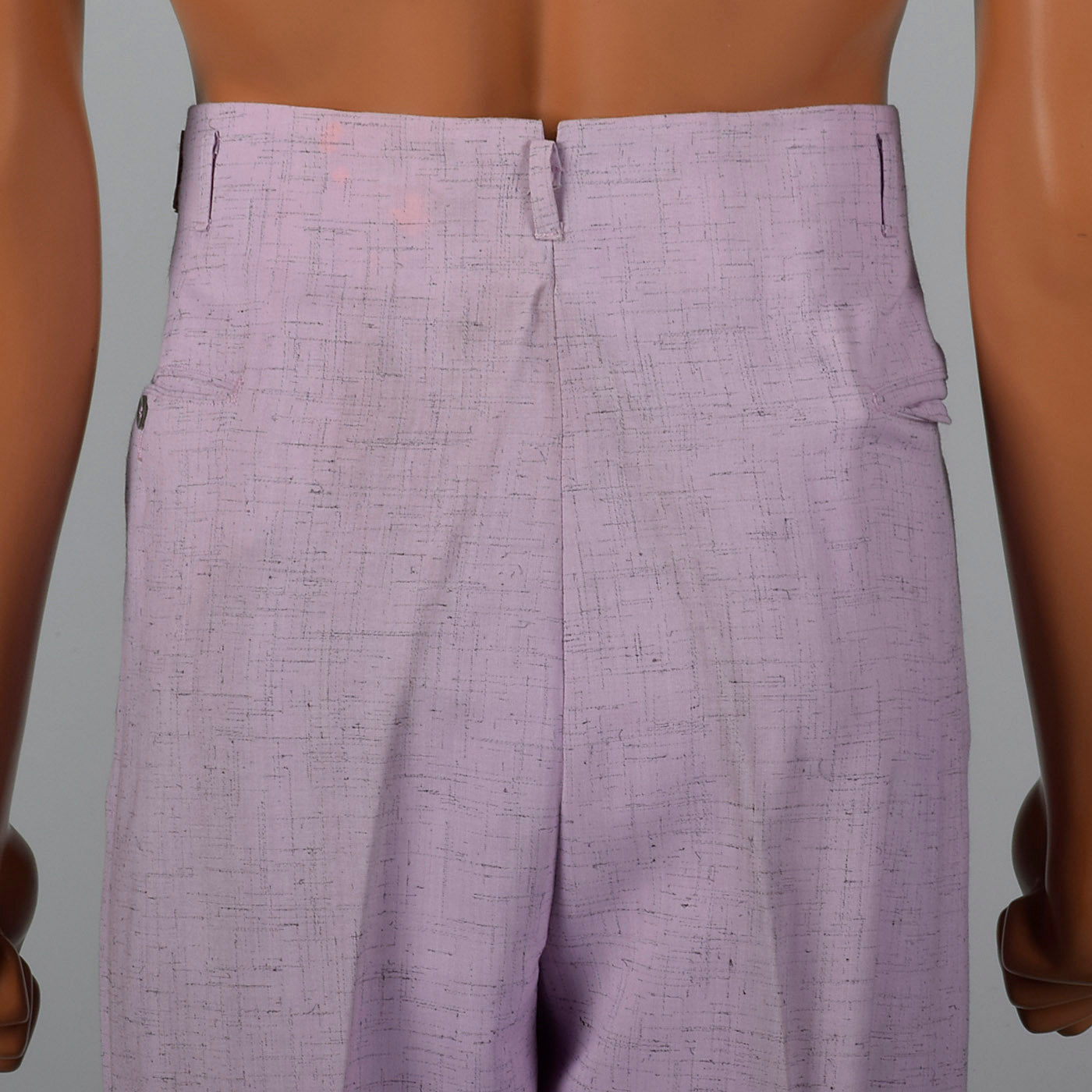 1950s Mens Hollywood Waist Pants Lavender Rayon with Gray Flecks