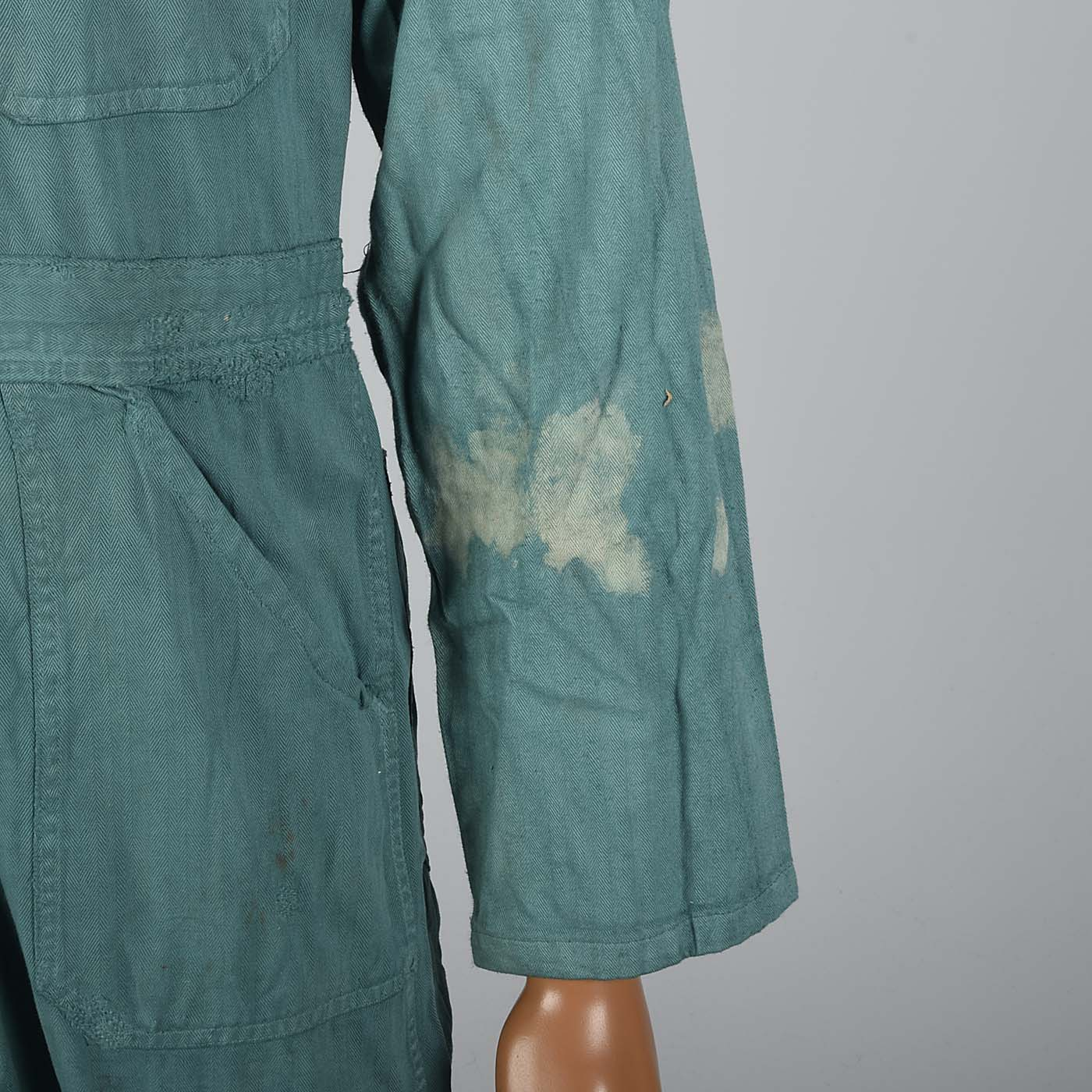 1940s Mens Green Herringbone Belted Workwear Coveralls