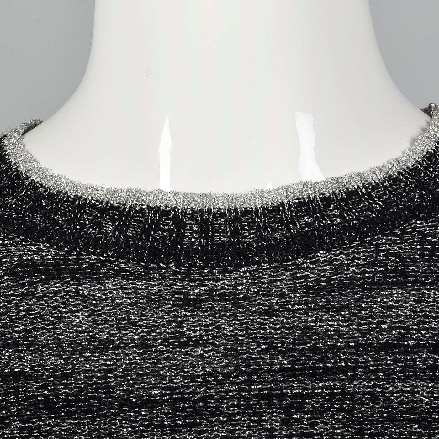 1970s Metallic Silver and Black Lurex Sweater