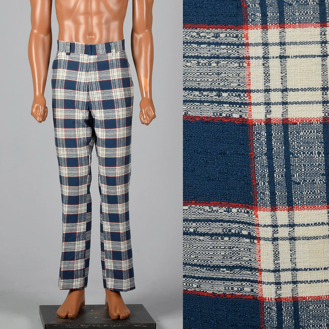 1970s Blue and Red Plaid Pants