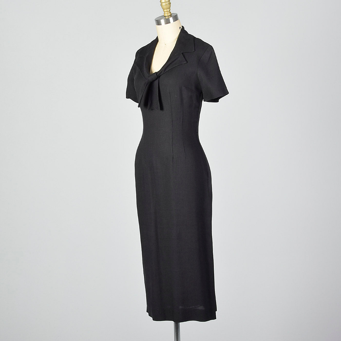 1950s Black Pencil Dress with Pussybow