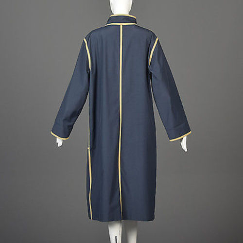1970s Bonnie Cashin Navy Blue Overcoat with Tan Trim