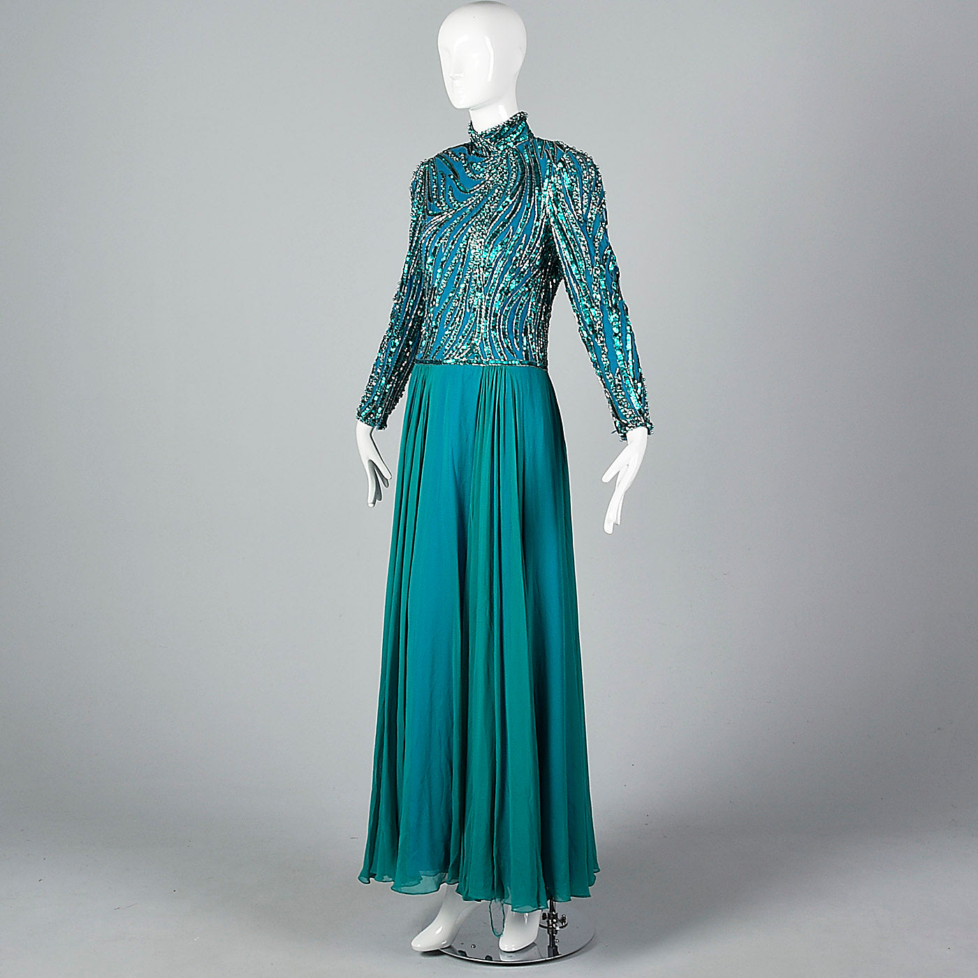 Sequined Bob Mackie Gown with a Layered Silk Chiffon Skirt