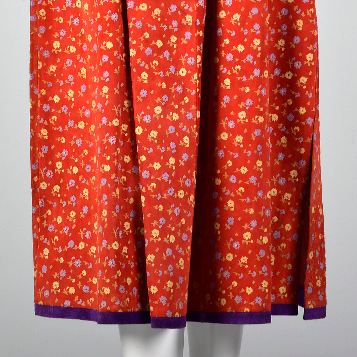 1970s Mario Valentino Suede Leather Two Piece Set with Silk Screen Floral Print