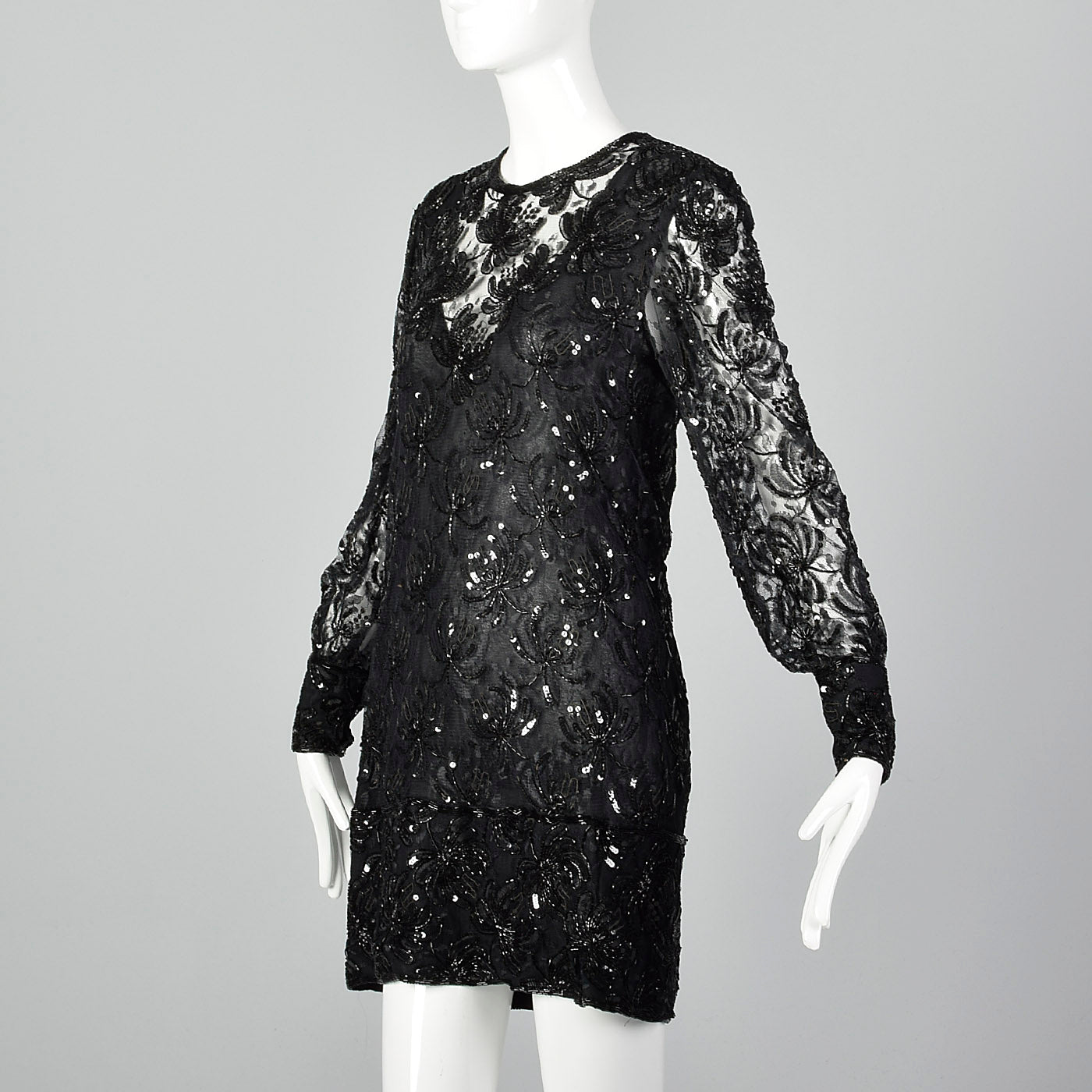 1970s Judith Ann Black Beaded Dress