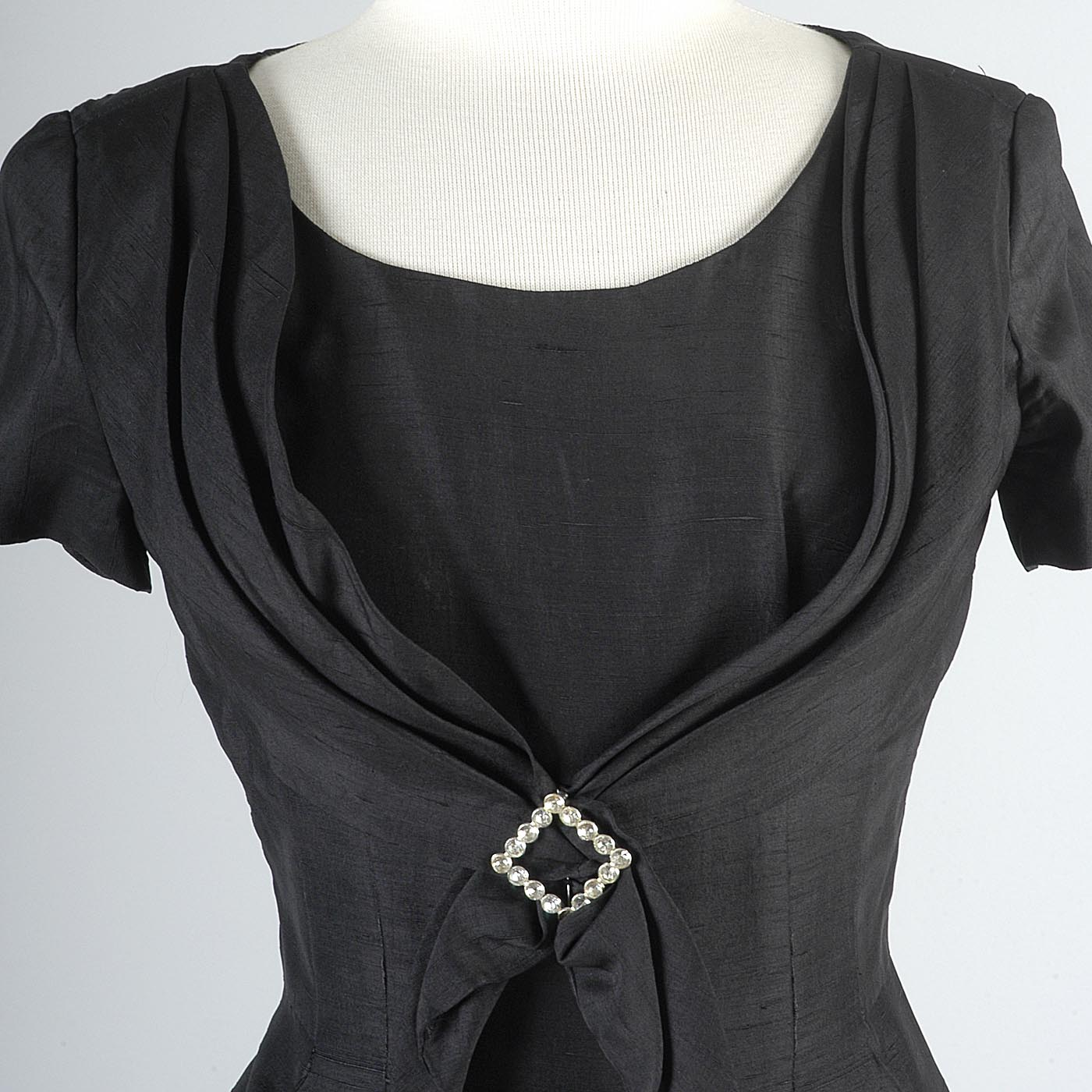 1950s Black Silk Cocktail Dress with Fitted Waist
