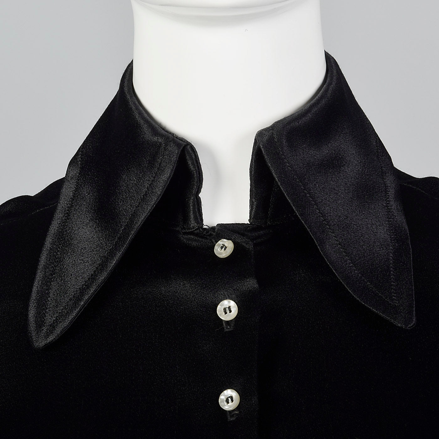 1970s Saks Fifth Avenue Black Satin Blouse