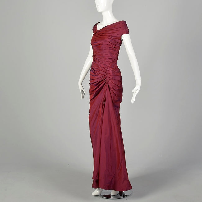 Medium 1990s Tadashi Burgundy Gown with Mermaid Hemline Ruched Bodice and Train