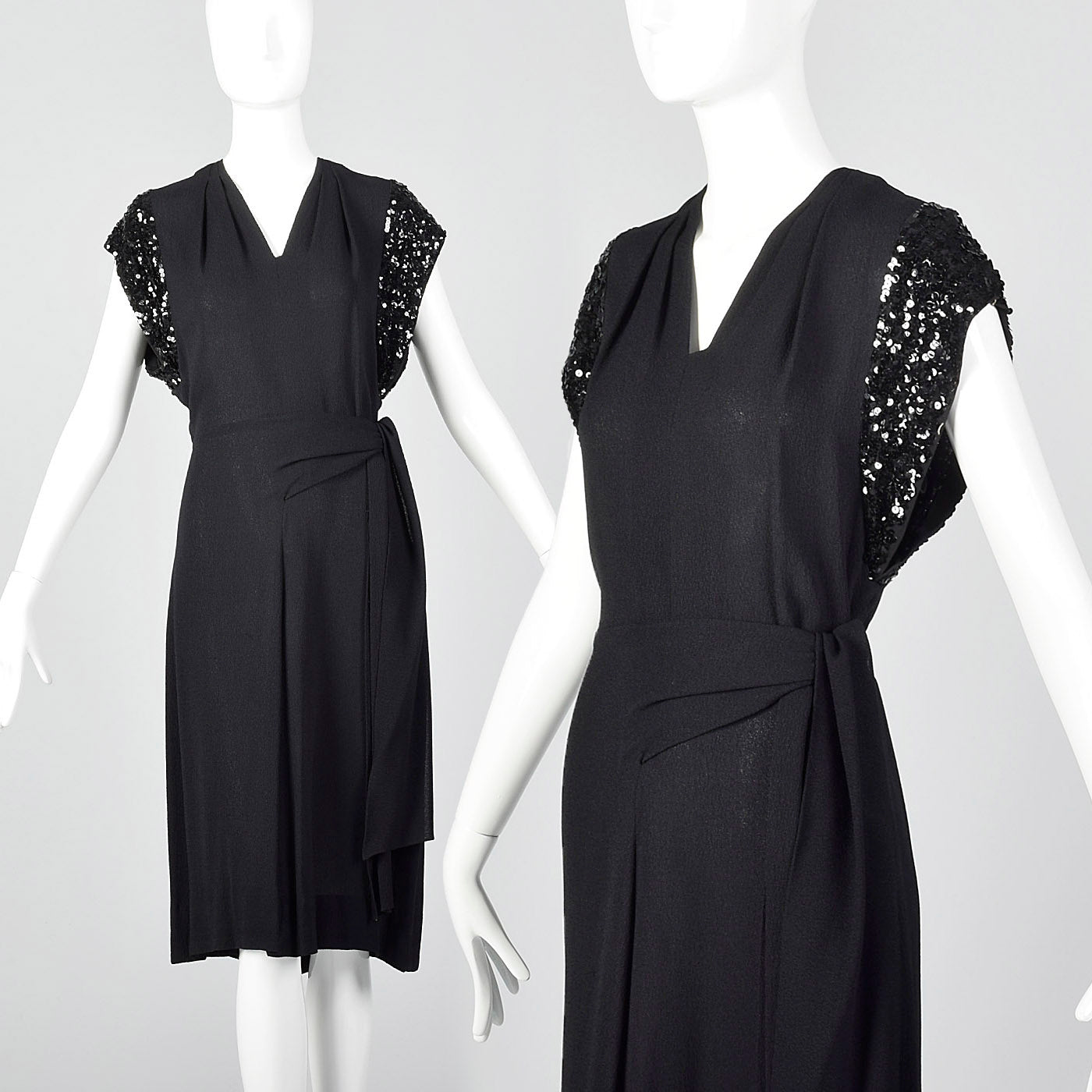 1940s Black Rayon Dress with Sequin Sleeves