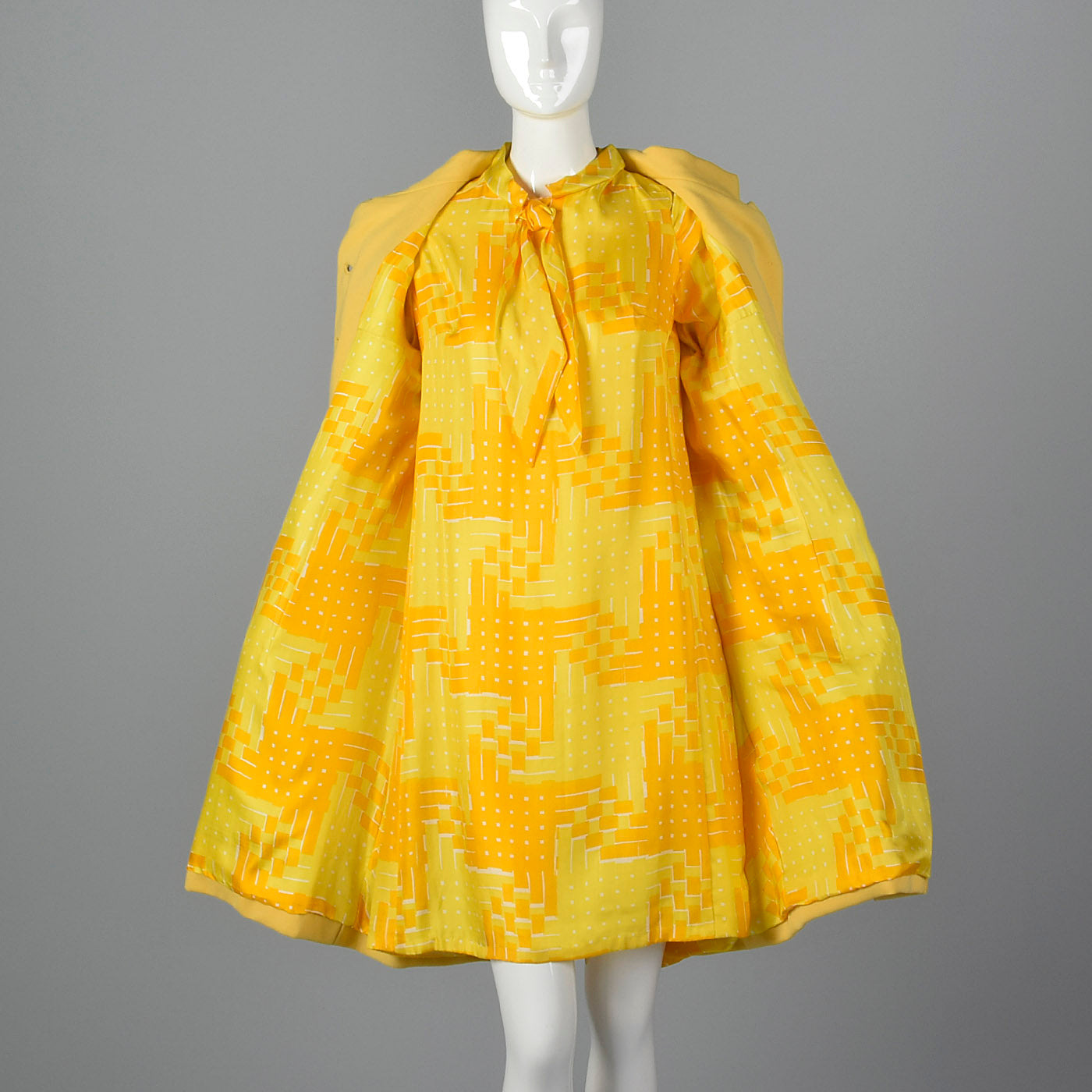 1960s Pat Sandler Bonwit Teller Yellow Silk Dress and Coat Set