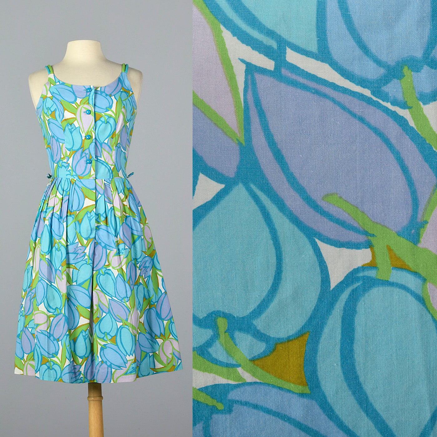 1950s Cotton Print Summer Dress