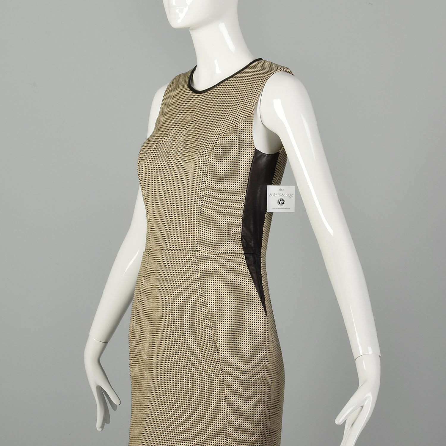 Small Jason Wu Tweed Dress Leather Panels Sleeveless Designer