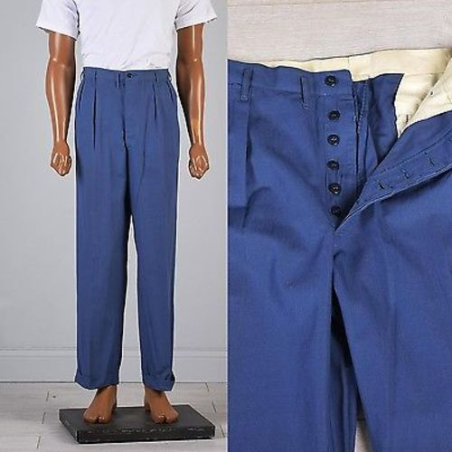 Deadstock 1940s Men's Sanforized Hercules Button Fly Summer Workwear Pants
