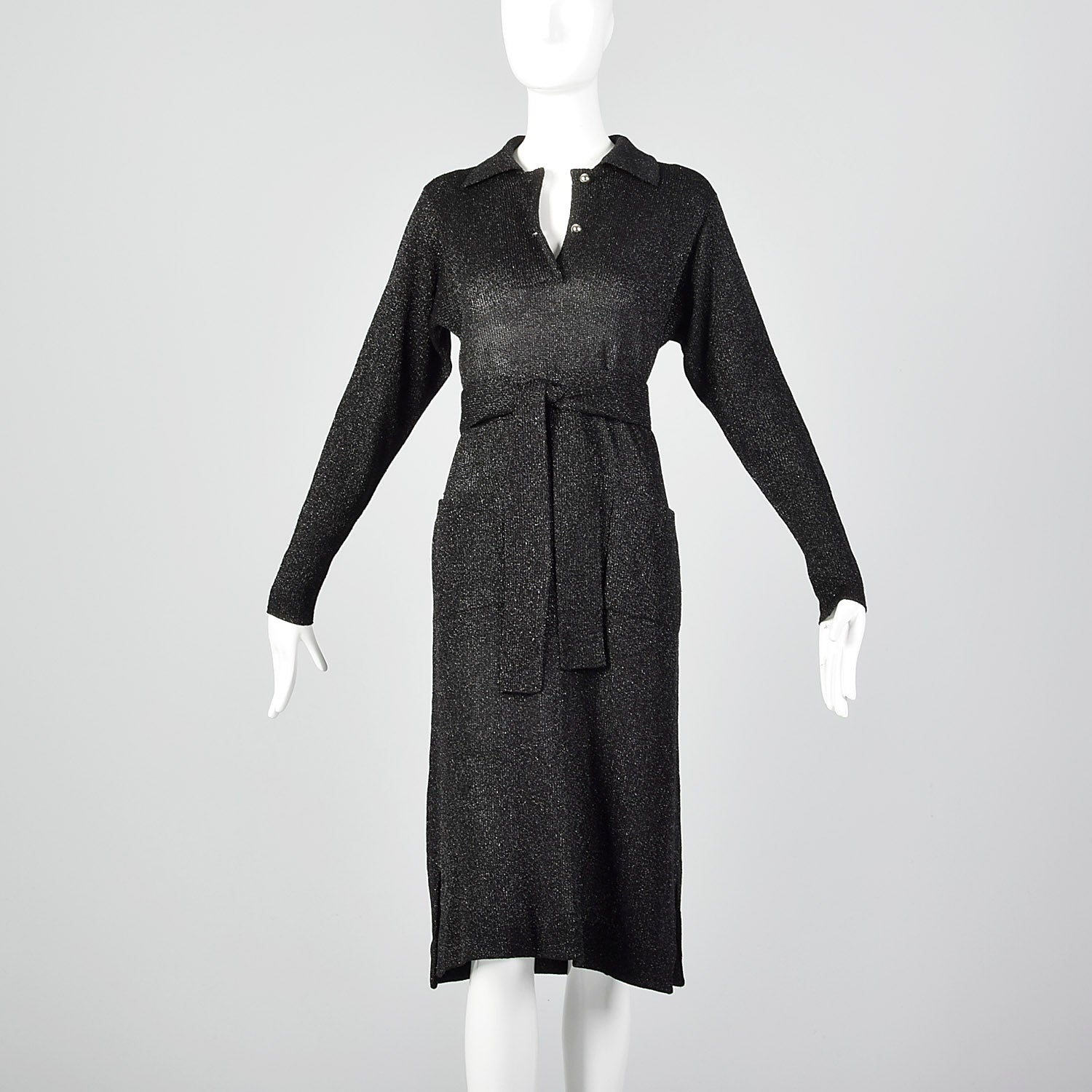 Large 1970s Black Lurex Knit Dress