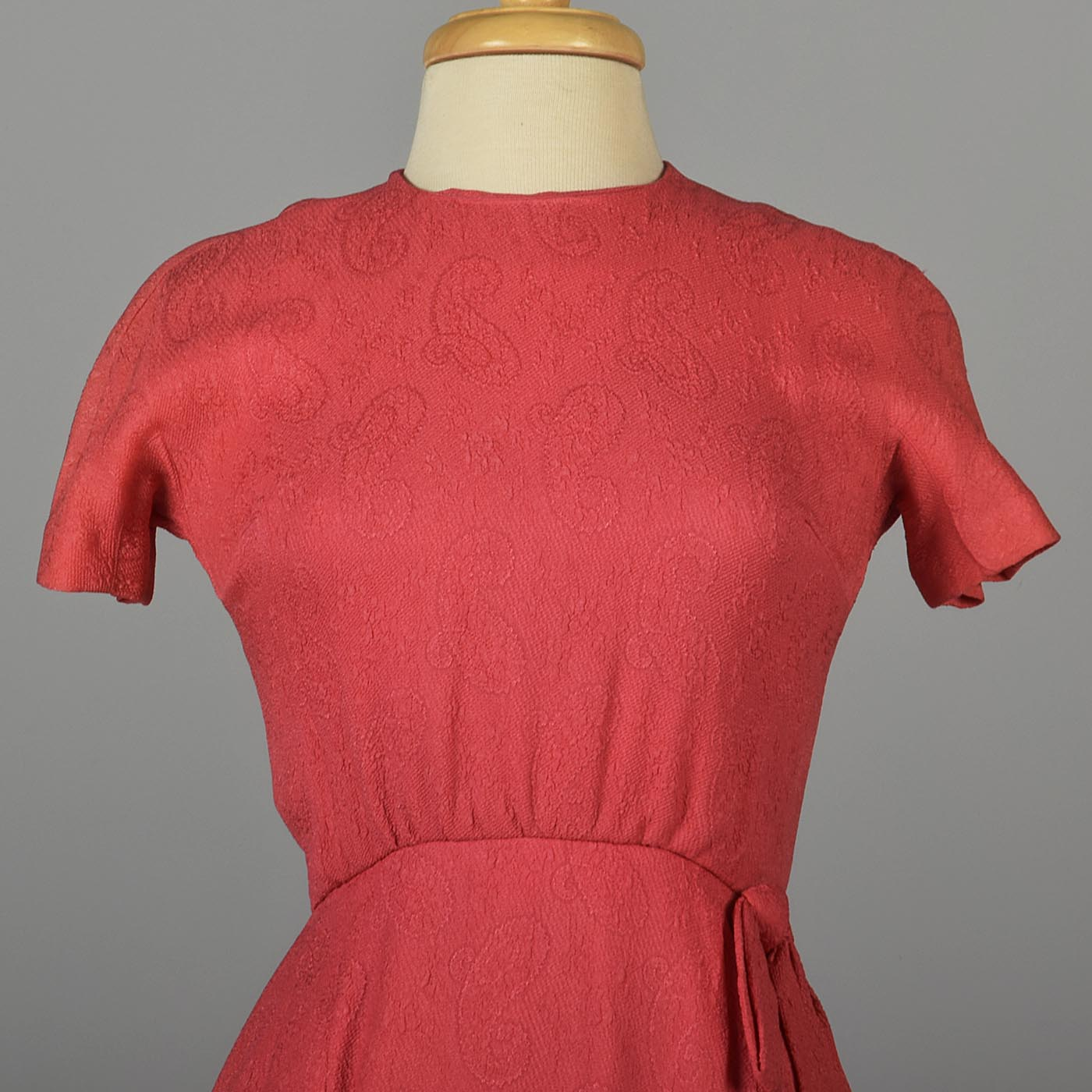 1960s Pink Cocktail Dress with Faux Wrap Skirt
