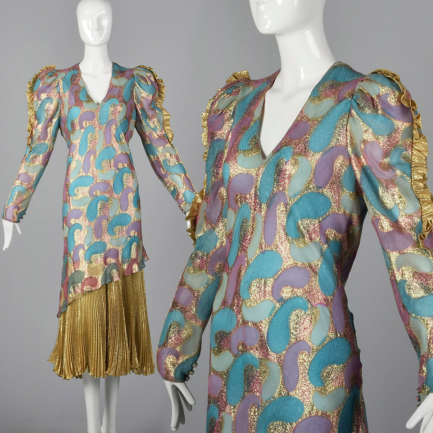 1980s Judy Hornby Couture Silk Evening Dress
