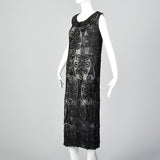 1920s Beaded Black Silk Dress with Celtic Style Knots