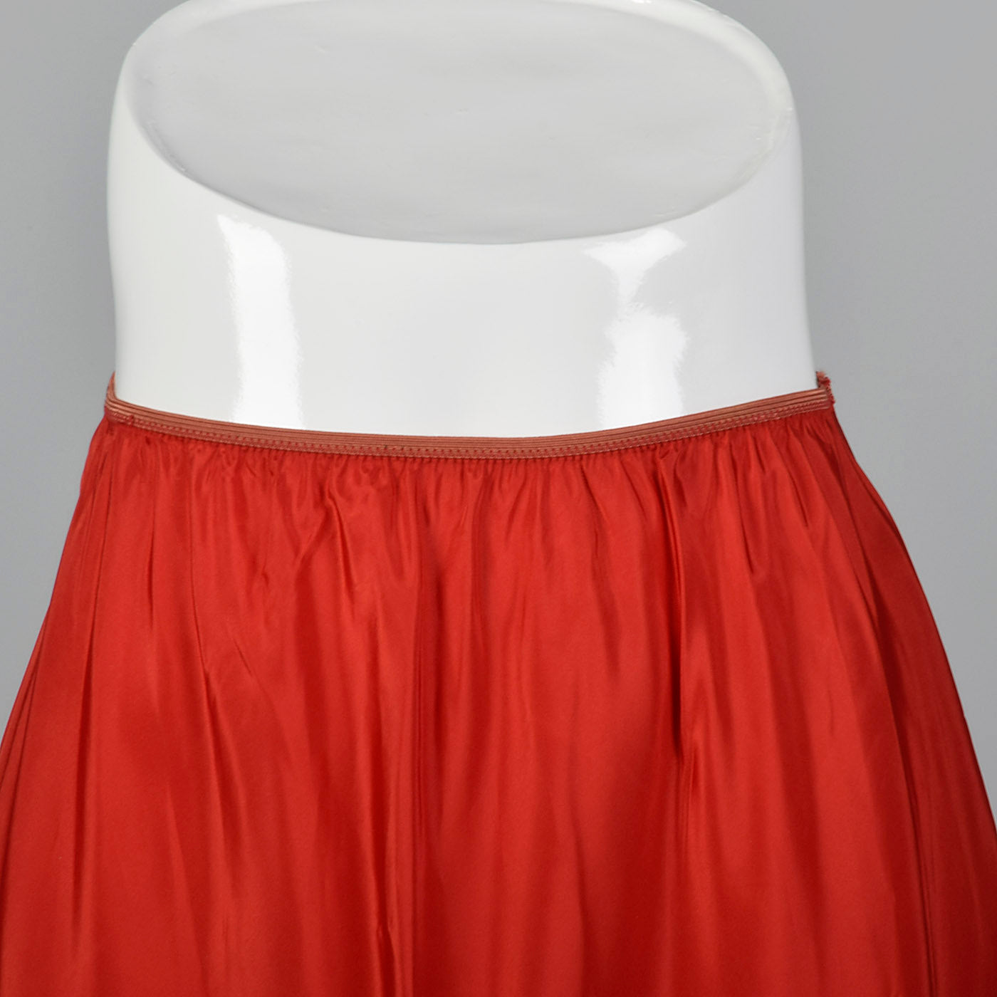1950s Red Taffeta Half Slip with Crystal Pleats and Polka Dot Ribbon