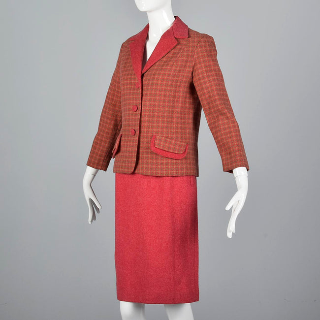 1960s Two Piece Pink Skirt Suit