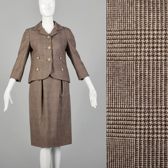 XS-Small 1960s Ben Zuckerman Brown Plaid Skirt Suit