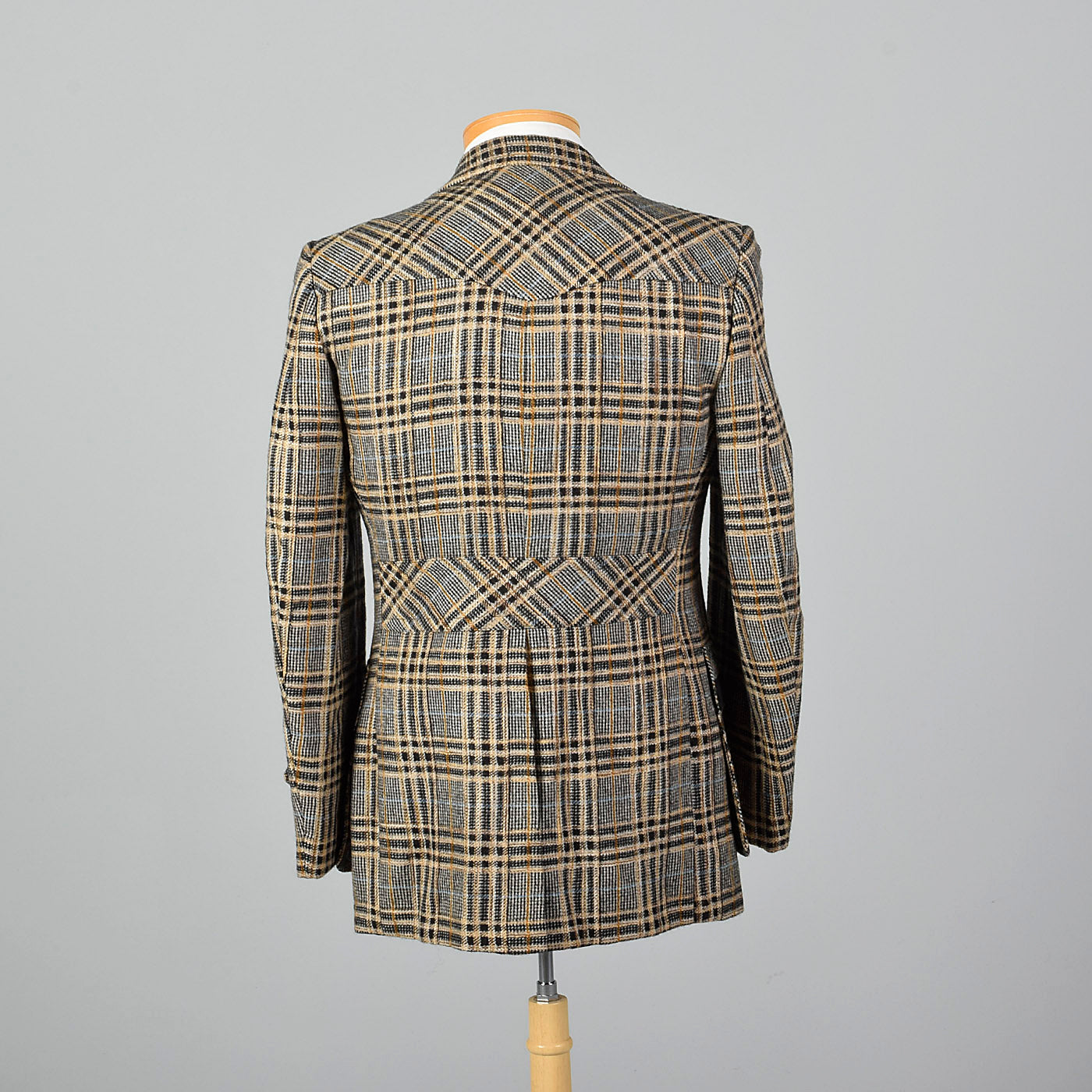 1970s Plaid Norfolk Jacket with Belted Back