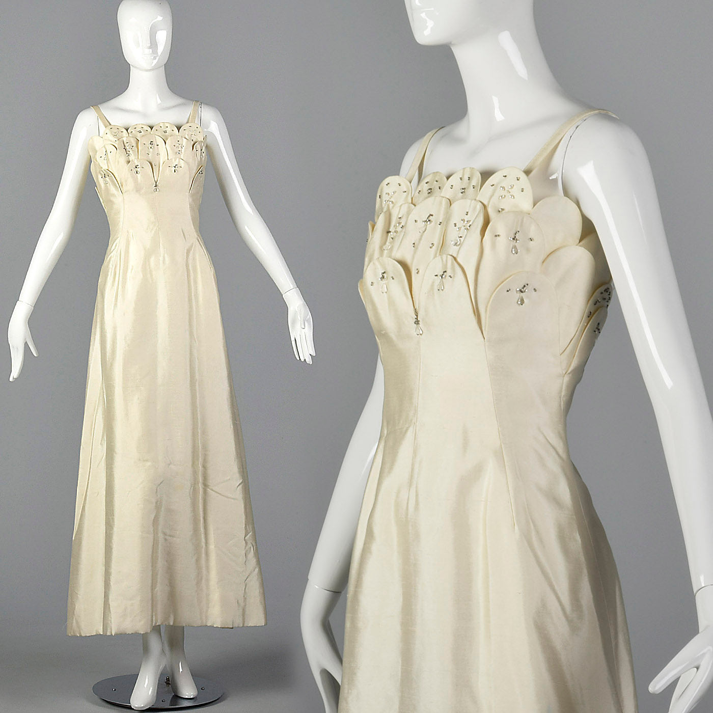 1960s Off White Formal Evening Gown or Wedding Dress