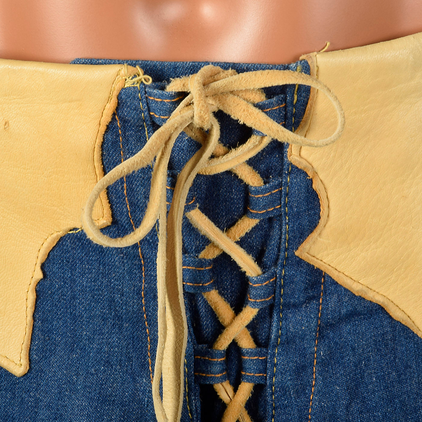 1970s Mens Bell Bottom Jeans with Lace Up Waist