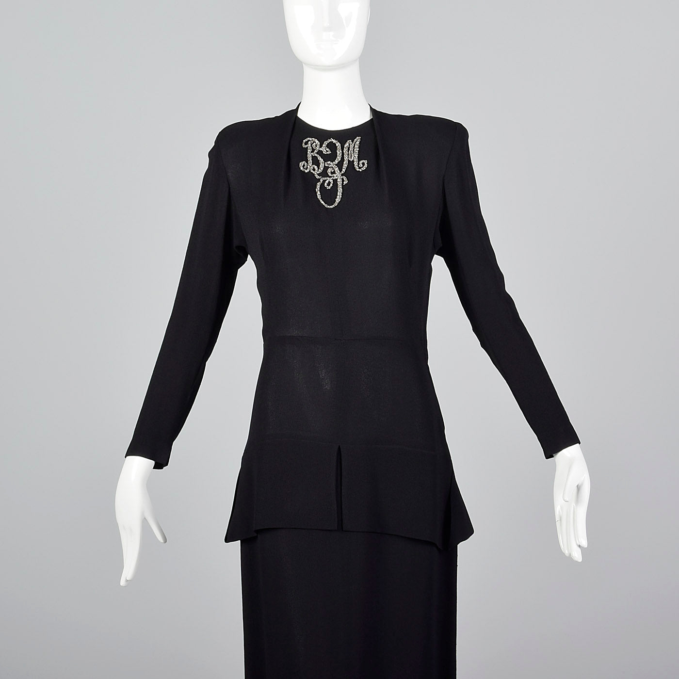 1940s Black Rayon Dress with Silver Beaded Monogram