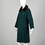 Medium 1960s Green Coat Double Breasted Autumn Outerwear with Mink Fur Collar