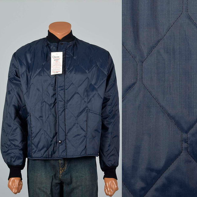 Large 1960s Navy Quilted Lightweight Jacket