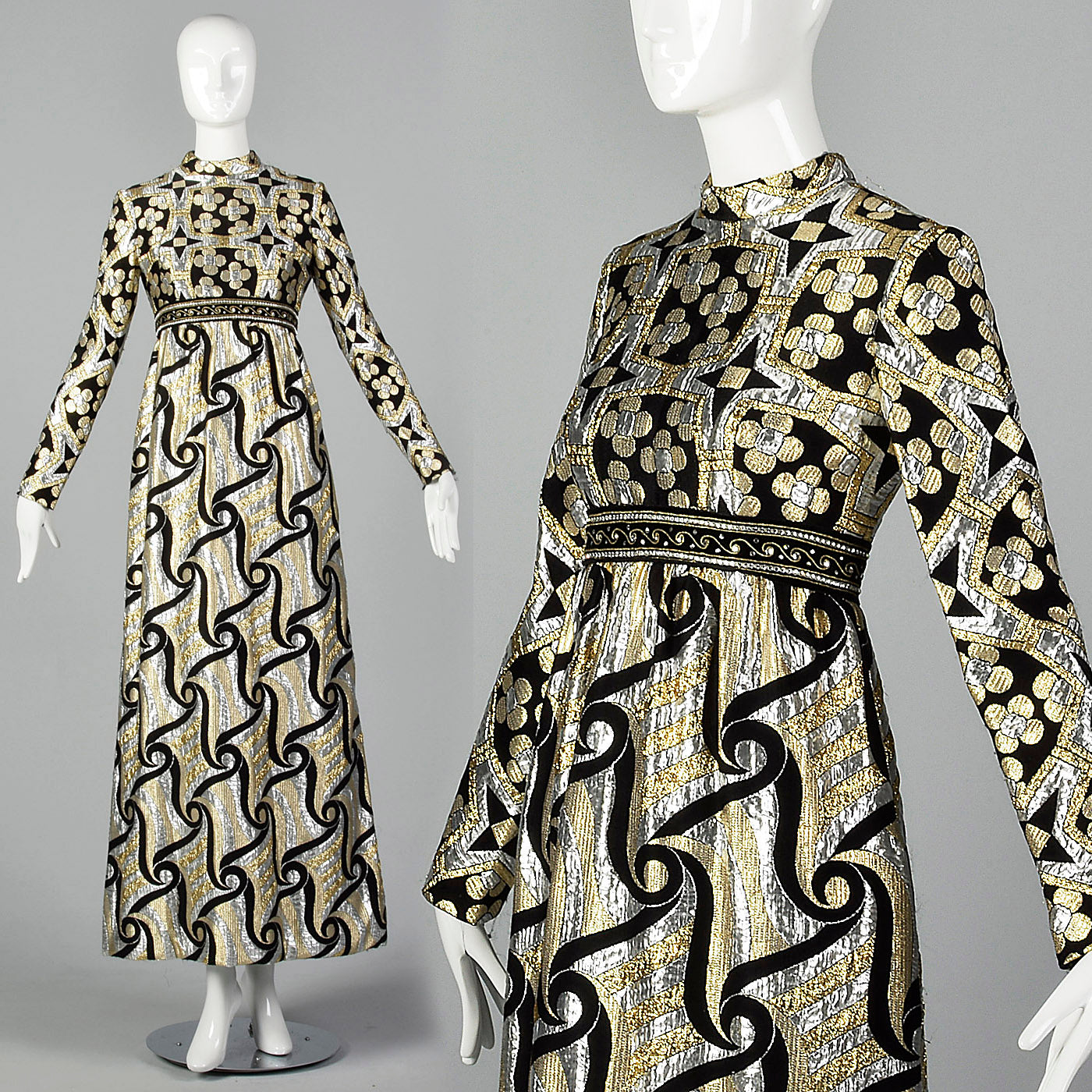1970s Silver and Gold Metallic Dress